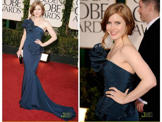 Amy Adams wears one-shoulder navy blue mermaid dress down 2011 red carpet