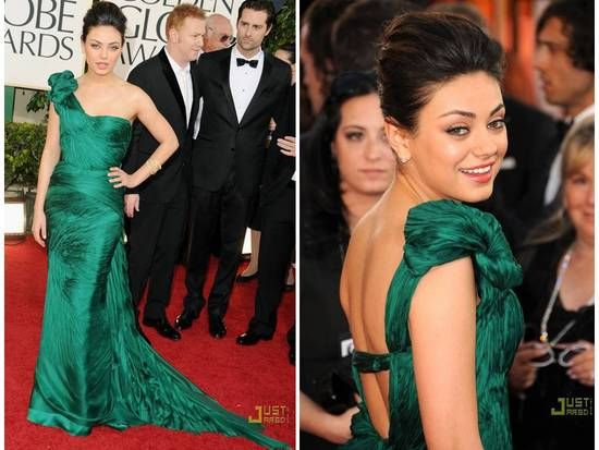 Mila Kunis donned a emerald green Vera Wang dress at the 2011 Golden Globes
