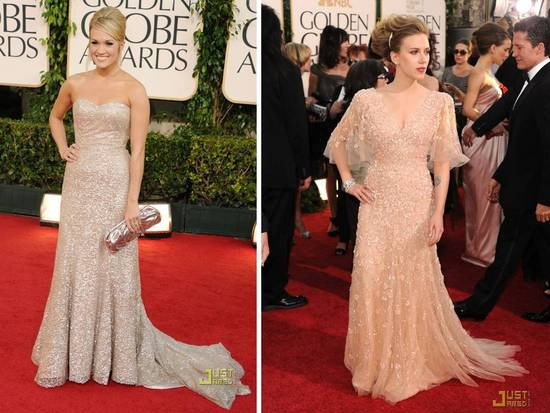Carrie Underwood donned a Swarovski-encrusted sweetheart neckline Badgley Mischka gown to 2011 Golde