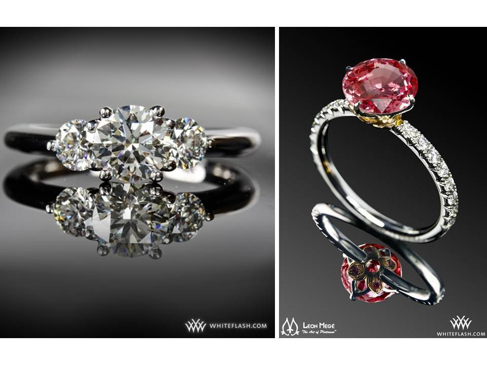 three engagement rings and colored diamonds