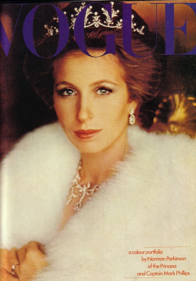 Princess anne photographed in diamond tiara on cover of vogue for Princess anne wedding dress