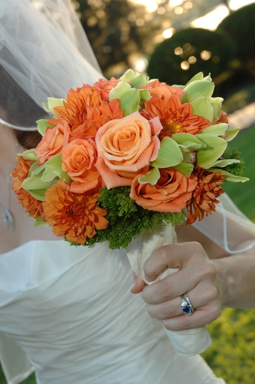 photo of Bridal Bouquet Idea: Vibrant Orange and Green