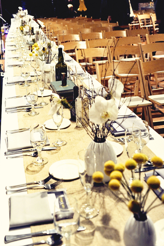 Farm style reception tables