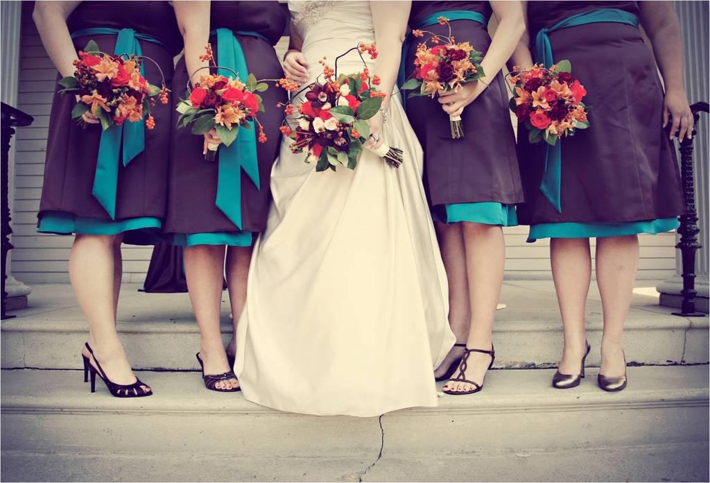 Intimate fall wedding- ivory wedding dress, vibrant fall wedding flowers