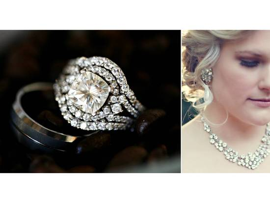 Stunning diamond cushion cut engagement ring and statement bridal necklace
