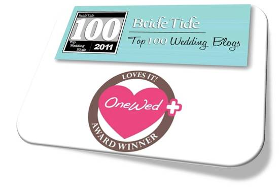 OneWed's Savvy Scoop bridal blog makes BrideTide's Top 100 Wedding Blog list for the 2nd year in a r
