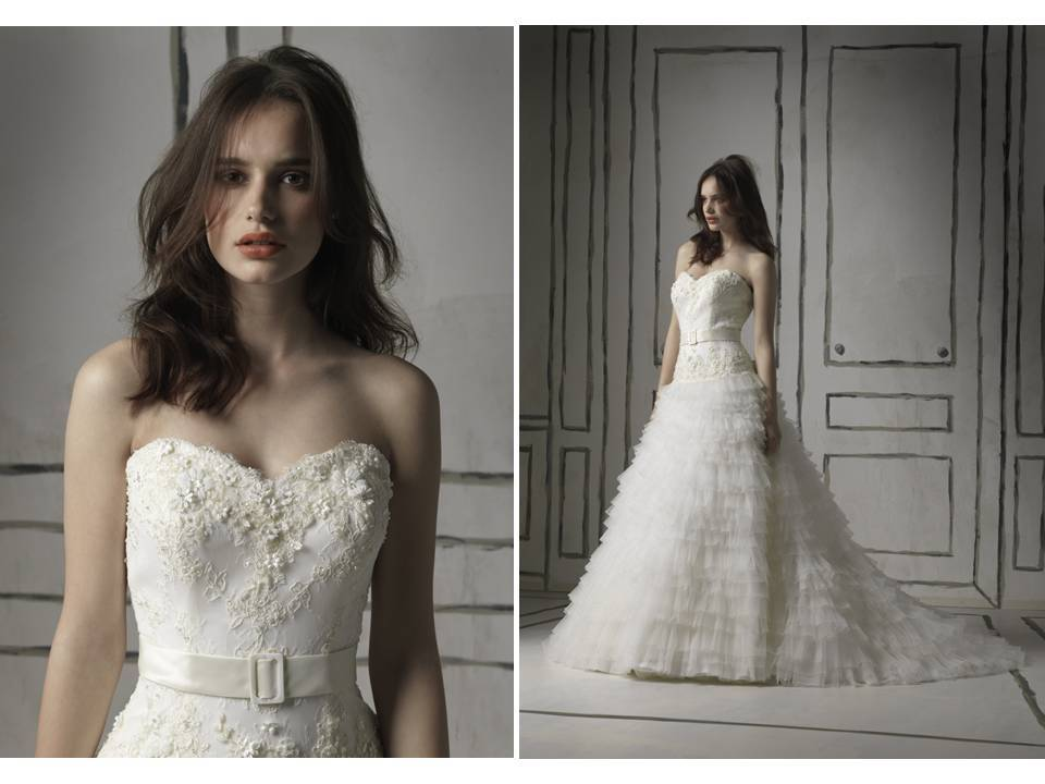 Ivory full a-line embellished wedding dress with sweetheart neckline