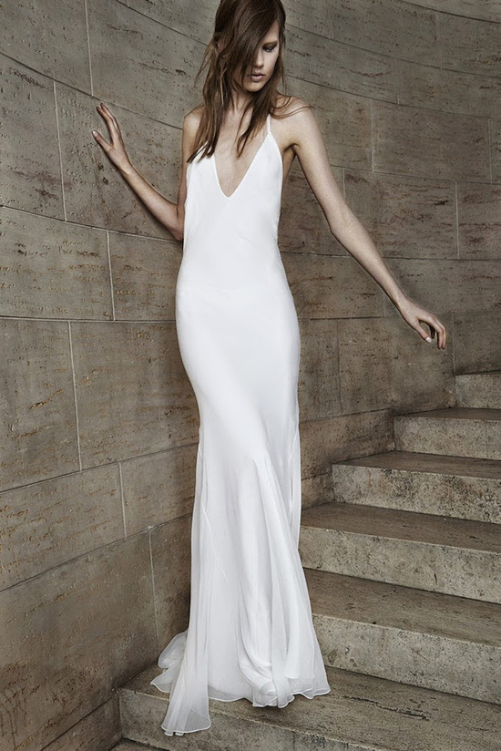 Simple slip wedding gown from Vera Wang