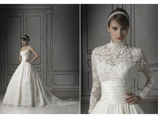 Romantic white lace ball gown wedding dress with sheer lace bolero