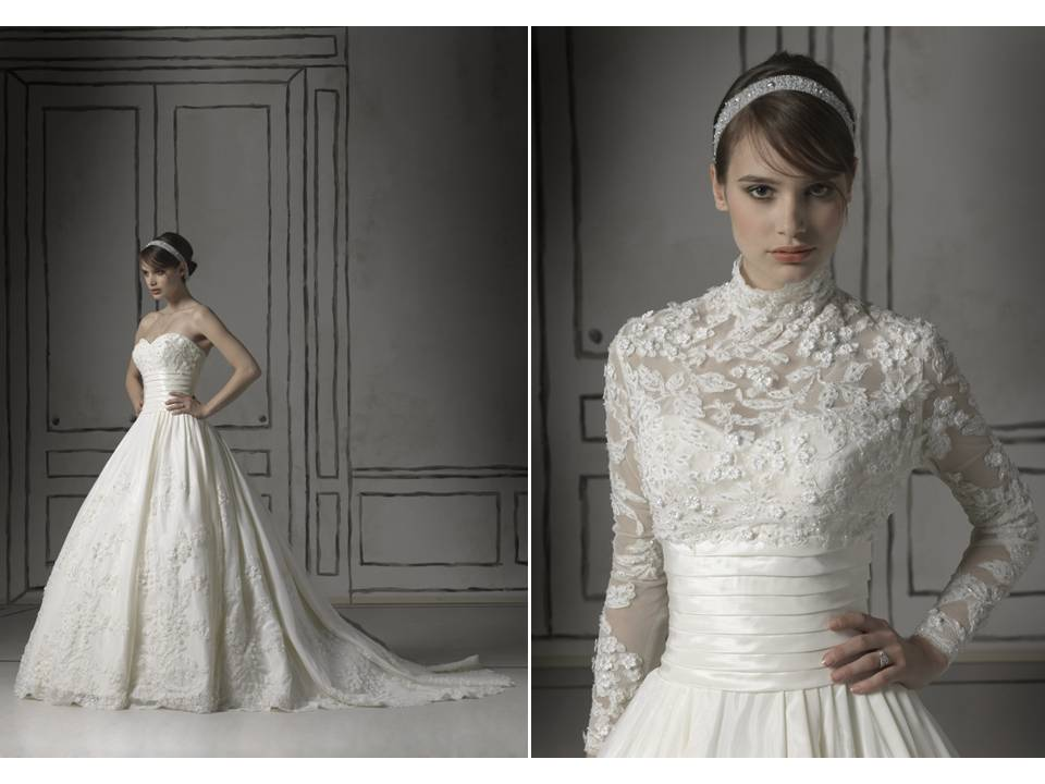 Romantic white lace ball gown wedding dress with sheer for White bolero for wedding dress