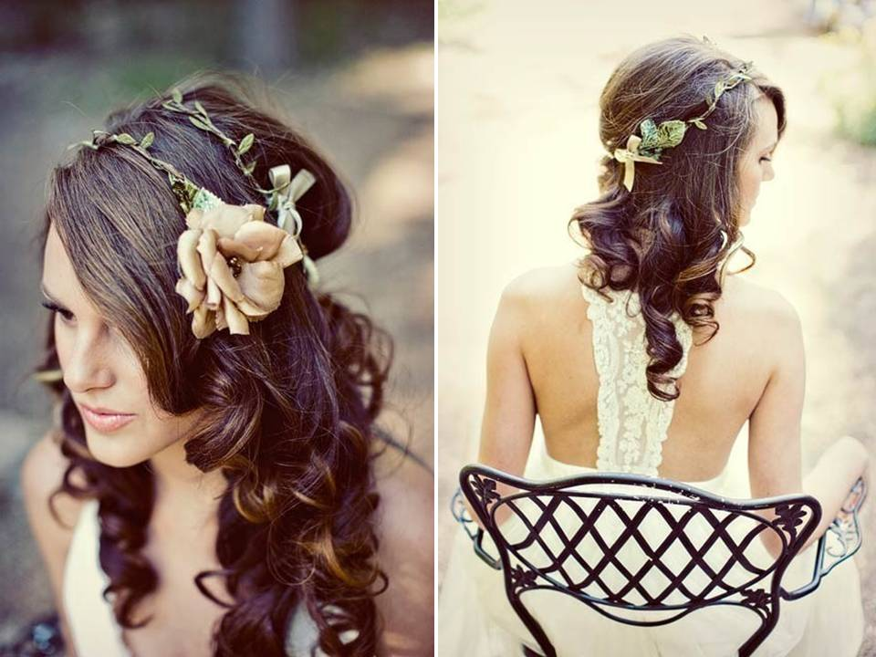 Boho Bride's Floral Hair Wreath For A Casual Wedding Day