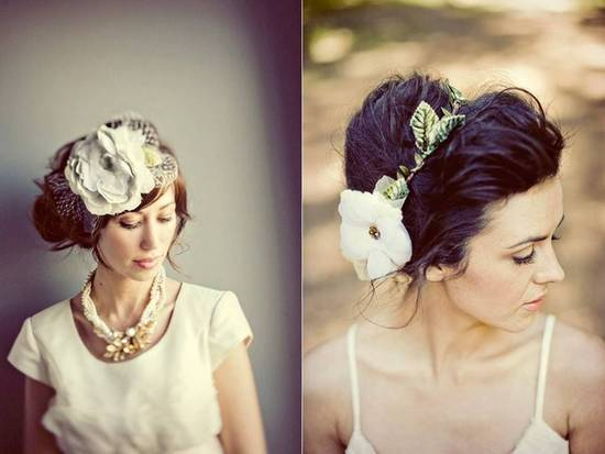 Gorgeous handmade bridal hat and hair flower from Etsy