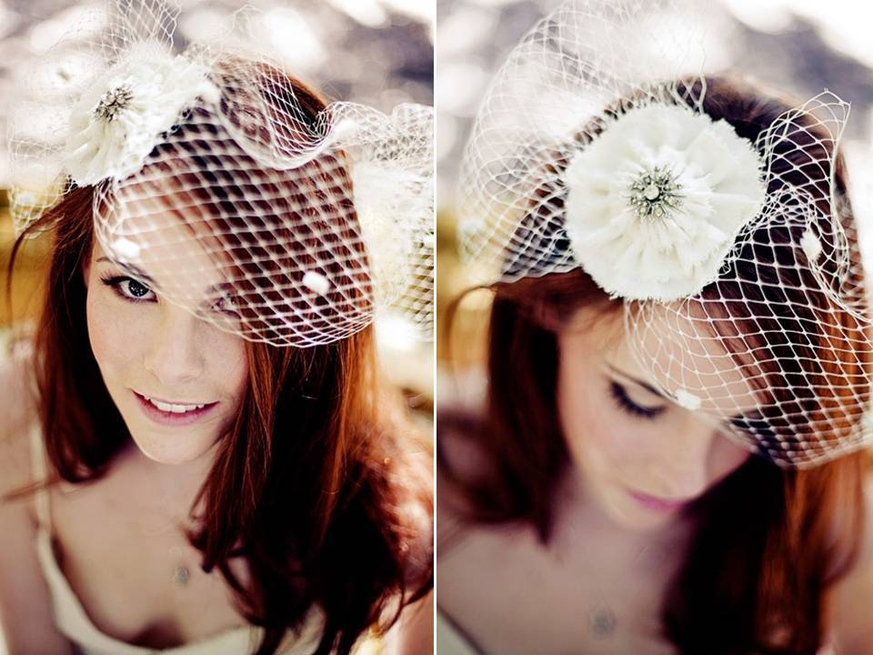 Stunning raw silk white vintage birdcage veil with French netting