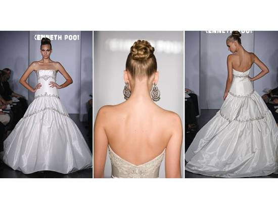 Sleek wedding hairstyle- high, braided chignon updo