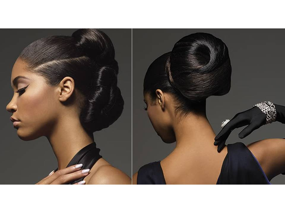Chic high chignon wedding hairstyle on African American bride