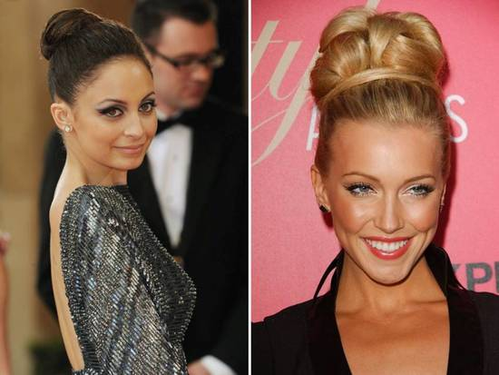 High, sleek chignons are on-trend wedding hairstyles for 2011