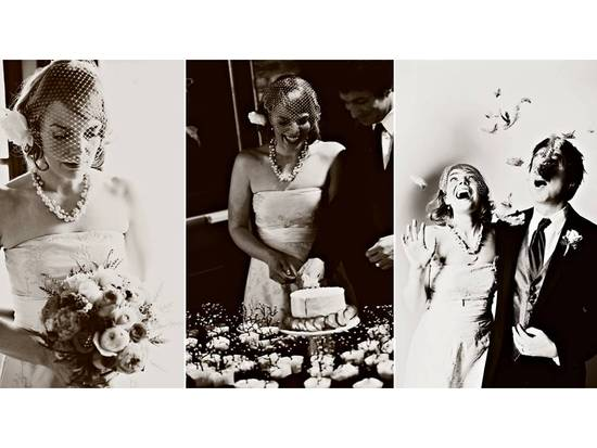 Vintage-chic bride and dapper groom cut wedding cake at wedding reception