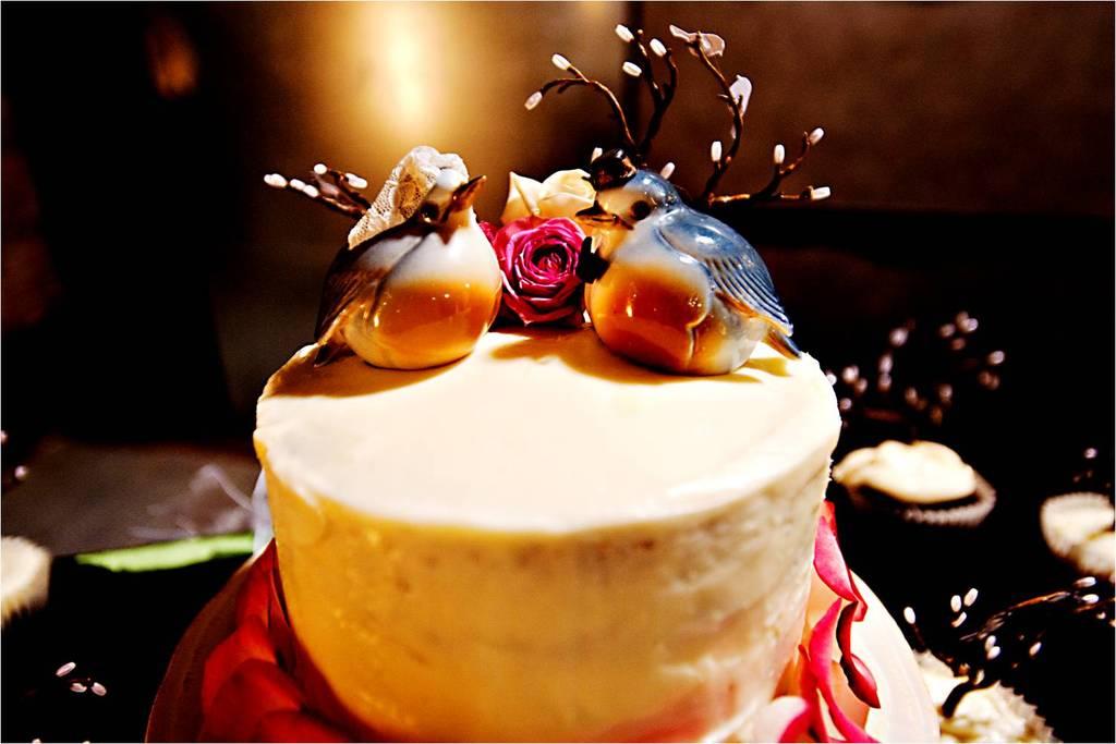 Nature-inspired-wedding-cake-love-birds-wedding-cake-topper-winter-weddings.full
