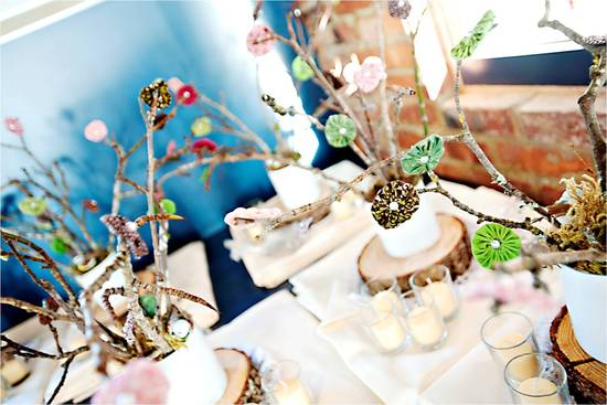 Winter wedding in Seattle- texture-rich wedding reception centerpieces with Manzanita branches