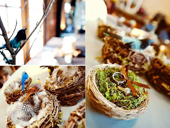 Rustic chic wedding reception details- natural bird's nest serves as ring bearer pillow