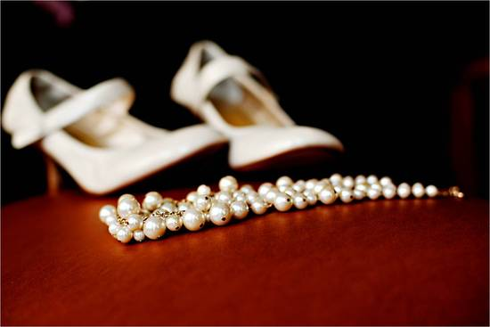 Vintage-chic bridal accessories- round-toe ivory bridal heels, pearl wedding day necklace