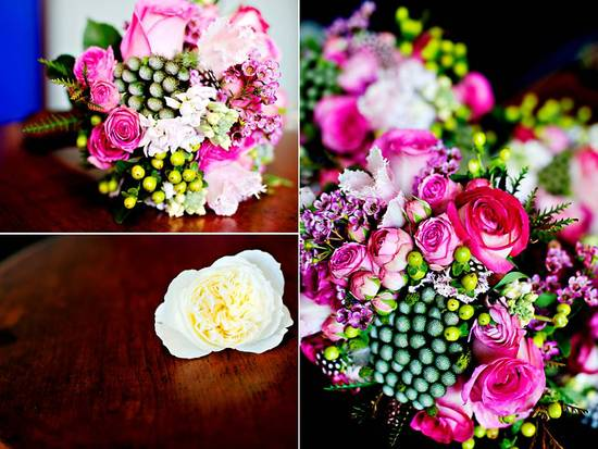 Vibrant hot pink, ivory and green bridal bouquet; chic ivory hair flower for bridal updo
