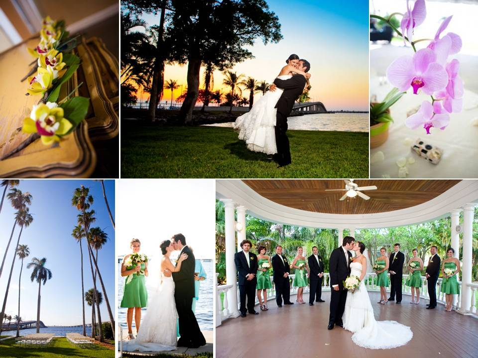 Tropical outdoor wedding on the beach, with fresh orchid wedding flowers