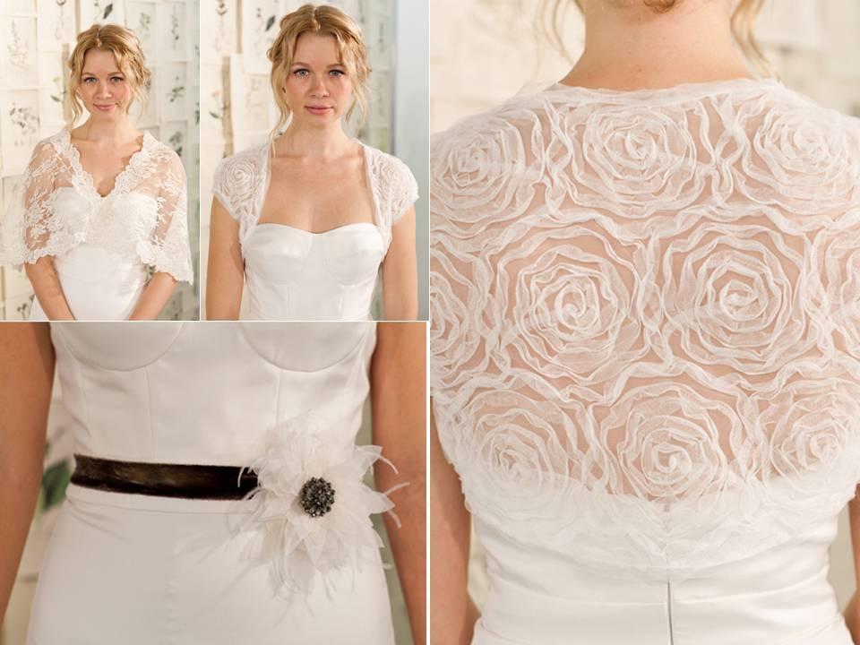 Feminine Sheer White Rosette Embellished Bolero White And Black