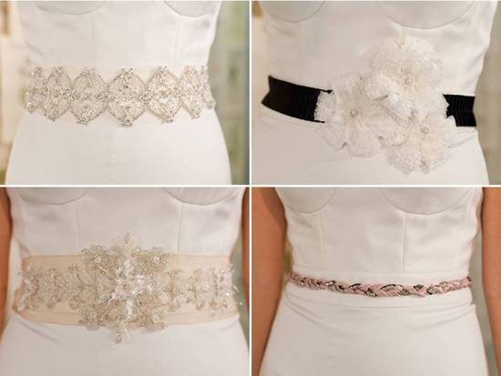 On-trend embellished bridal belts with rhinestones, floral applique, and touches of lace