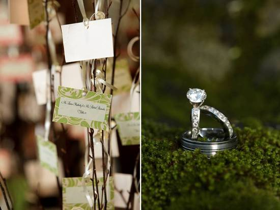 Green escort cards hang from manzanita branches; diamond engagement ring photographed in grass