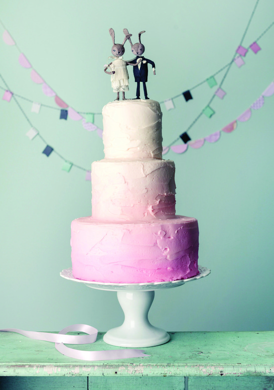 Pink ombre wedding cake from Magnolia Bakery