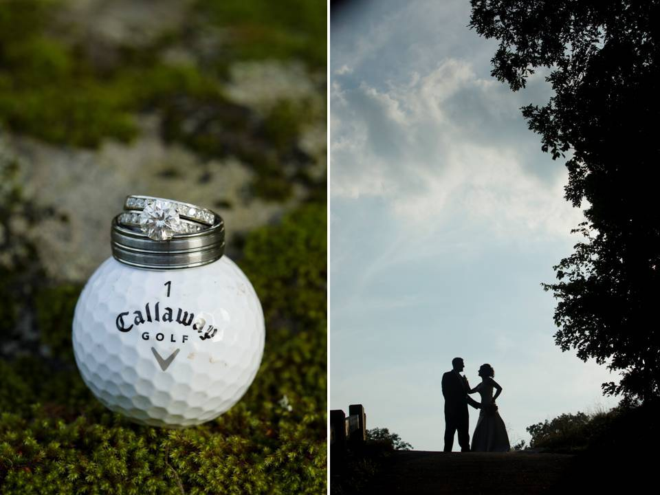 Engagement ring and wedding band photographed on golf ball