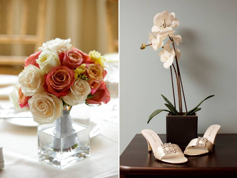 Open-toe-ivory-bridal-heels-white-orchids-coral-peach-ivory-roses-reception-table-centerpieces.full
