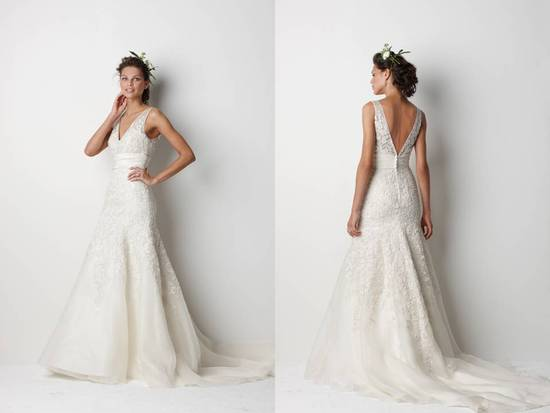 Romantic v-neck lace wedding dress with deep v back