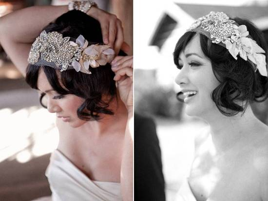 Dazzling beaded bandeau bridal headband available on Etsy