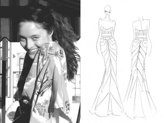 photo of Alice Temperley of Temperley London, and one of her bridal sketches