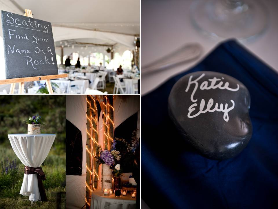 Unique wedding reception details- en-scripted stones as escort cards, chalkboards directing wedding