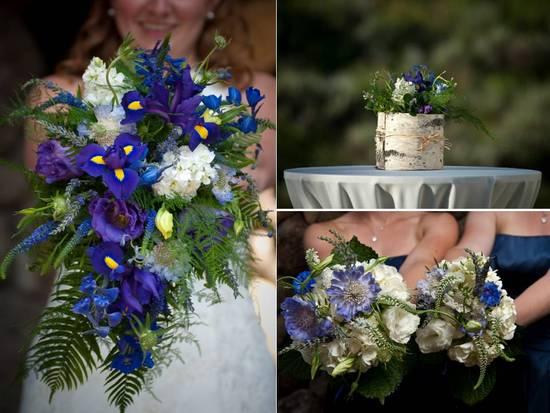 Vibrant whimsical, rustic bridal bouquet- deep purple wild flowers, lush green accesnts