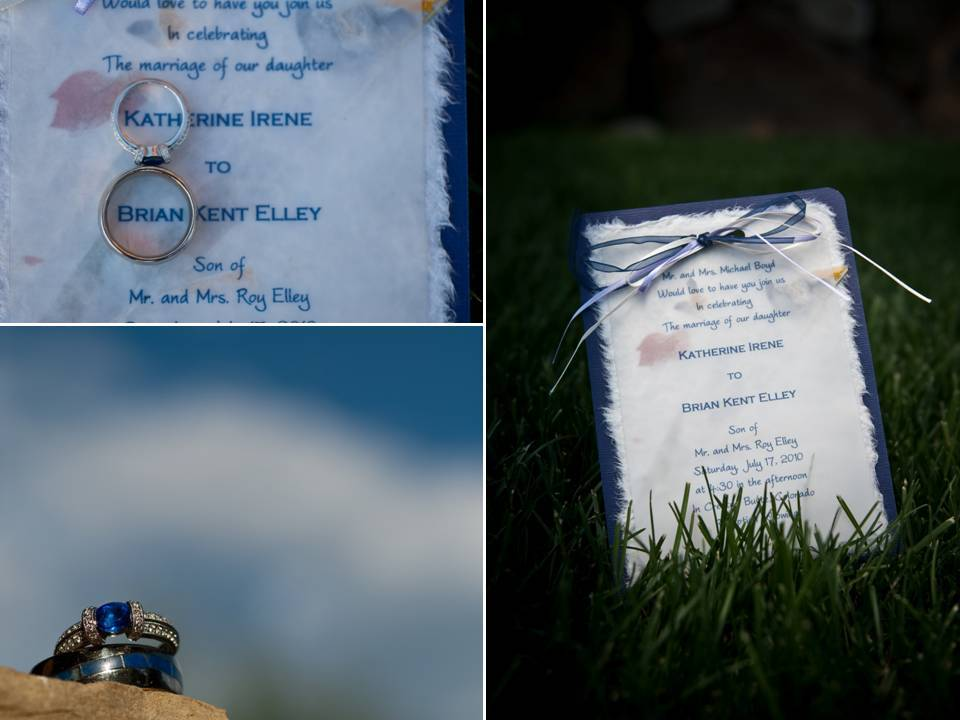 Navy blue and white nature-inspired wedding invitations; sapphire engagement ring