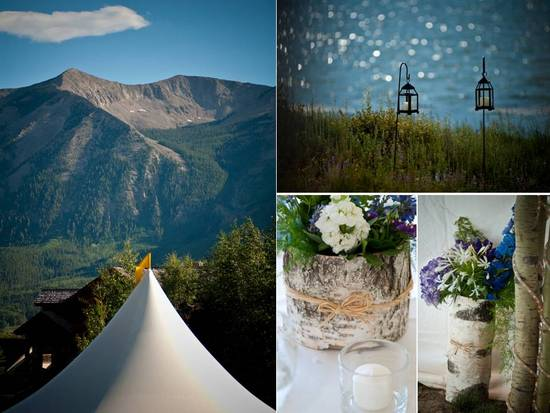 Scenic lakeside outdoor wedding venue in Colorado; rustic chic wedding flower arrangements