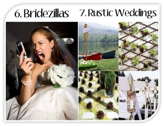 Glamourizing bridezillas and rustic chic weddings- no longer in for 2011 nuptials