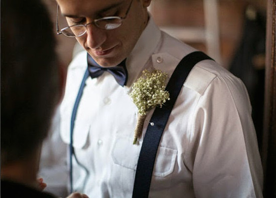 Dried Babys Breath boutonniere