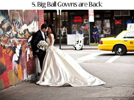 Big, dramatic ball gown style wedding dresses are back on-trend for 2011