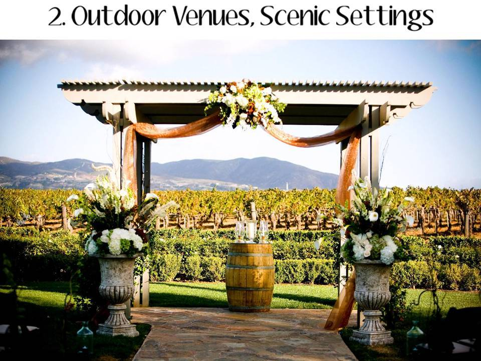Outdoor California wedding venue with floraladorned arch and