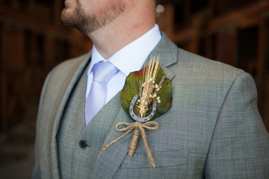 Horse themed groom s boutonniere