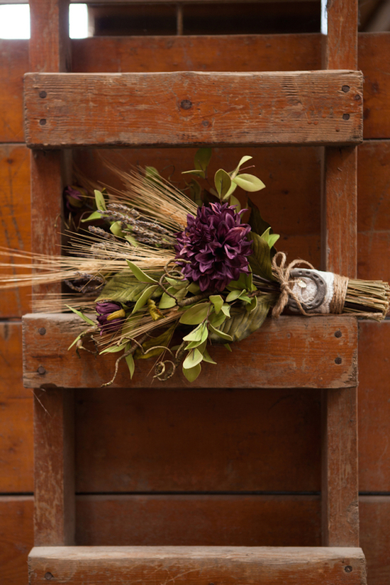 Rustic barn wedding bouquet photo