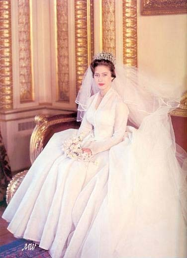Royal wedding day style- Princess Margaret wore a silk organza dress and dazzling tiara