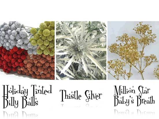 Silver, red and green metallic tinted billy balls, thistle silver, million star baby's breath
