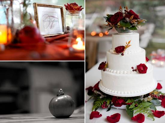 Classic white wedding cake adorned with fresh fall flowers