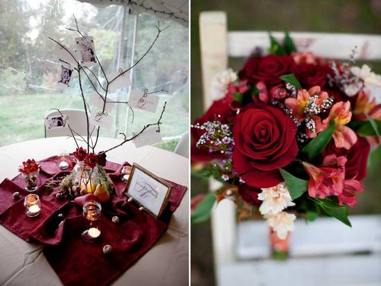 Rustic fall wedding reception decor- manzanita branches, red roses, DIY touches